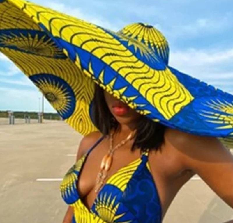 Women large African print hats multiples color