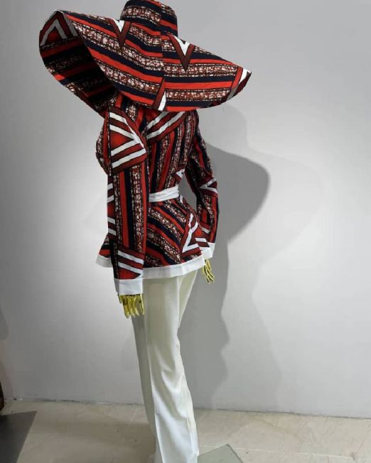 Women 3 pieces vest, pant and hat African print come in different colors